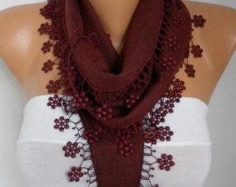 ON SALE --- Burgundy Floral Pashmina Scarf Wine Scarf Cowl Scarf bridesmaid gift Gift Ideas For Her Women Fashion Accessories Mother's Day G