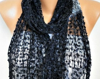 ON SALE --- Black Knitted Scarf, Wedding Shawl,Graduation,Bridal Accessories,Bridesmaid Gift,Cowl Scarf, Gift Ideas For Her, Women Fashion A