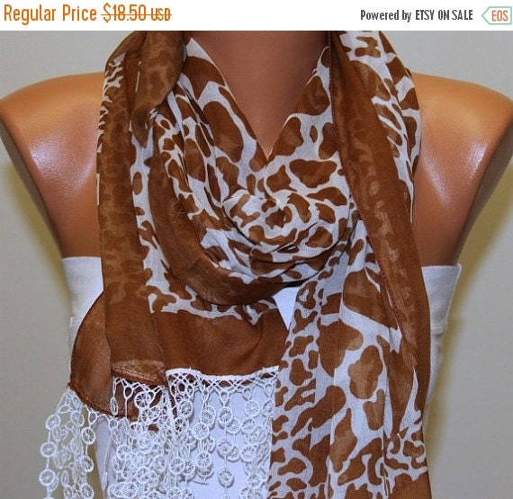 ON SALE --- Brown Cotton Leopard Print Scarf Spring Summer Fashion Shawl Cowl Scarf Bridesmaid Gift Ideas For Her Women Fashion Accessories