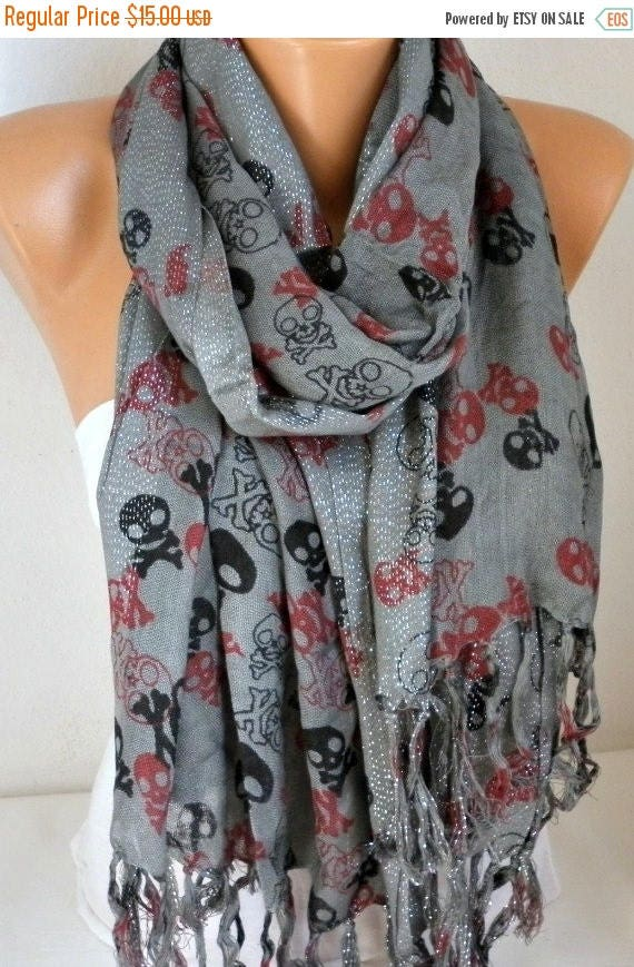 ON SALE --- Gray Skull Print Cotton Scarf,Crossbones, Silvery, Cowl Scarf, Shawl, Gift Ideas For, Her Women Fashion Accessories