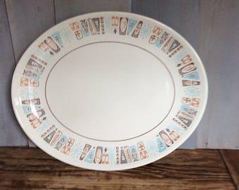 Vintage Taylor Smith Taylor Moderne Oval Serving Platter / Retro Mod Platter / Mid Century Modern Platter