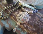 Knotted ombre mermaid necklace - Sea Goddess - sterling silver aquamarine semi precious stone beach boho by slashKnots