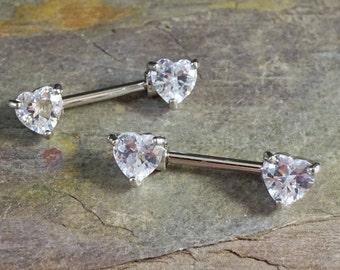 Heart Crystal Nipple Ring Nipple Piercing