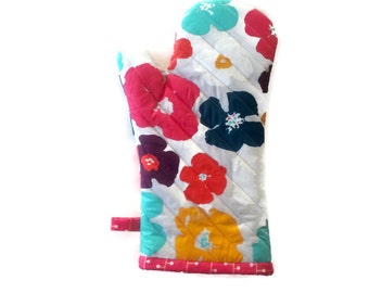 Mod Flowers Oven Mitt - Gift for Foodie - Gift for Her - Gift  Under 20