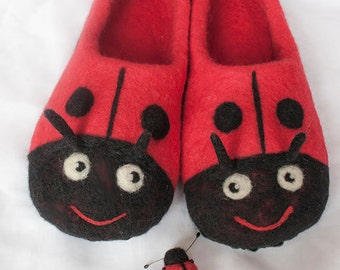 Felted home slippers / ladybug/ gift
