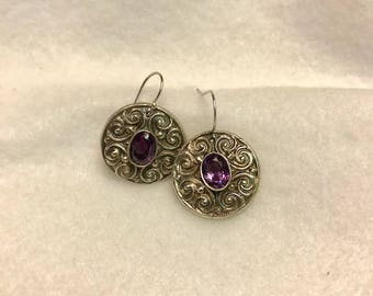 Handcrafted Fine Silver 999  Earrings with Natural Amethyst Gemstones. 2.5 Carats each
