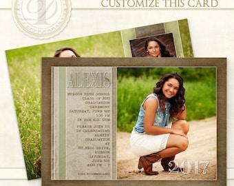 Graduation Invitation, Edited, Senior Girl Photoshop Templates, Girl Invitation, Photoshop Templates, Templates, Graduation Card - Alexis H