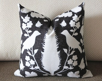 black and white Pillow, Bird Pillow, Decorative Throw Pillow Cover Invisible Zipper Closure, Toss Pillow, Accent Pillow 387