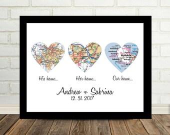 Wedding Gift Framed Art Heart Map Personalized Wedding Gift for Couple Unique Wedding Gift Ideas Map Art Gift Valentine Gift for Her