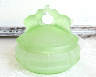 Green Depression Glass Covered Dish Elephant Glass Dish Elephant Figurine Vintage Green Glass