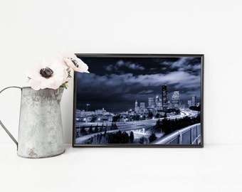 Seattle Skyline - Cityscape Blue Wall Art, Black and White Art, Night Photography, Urban Decor - Small and Oversized Art Prints Available
