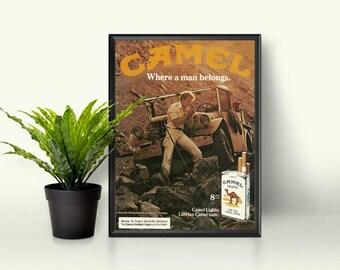 Tobacciana Sign • Cigarette Collectibles • Rocky Cliff Jeep Ad • Brown Color Decor • Camel Smoking Decor • Cigarette Photo • Camel Taste