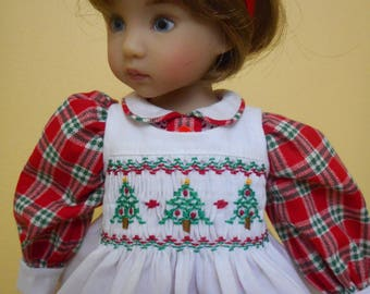 "Smocked Christmas Pinafore Dress & Elf for 13"" Dolls-Little Darling-Award Winning Stitchery Artist-Free US Ship"