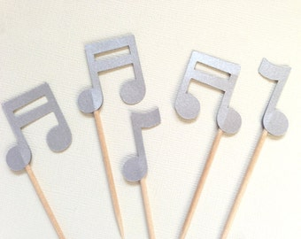 Music Notes Cupcake Toppers, Party Decor, Weddings, Showers, Birthdays, Graduation, Celebrations, Double-Sided, Silver Shimmer, Set of 15