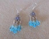 Blue Bayou/Genuine swarovski Elements floral design with blue crystal teardrop earrings/womens crystal earrings in blue/pierced crystal earr