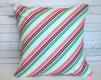 Pink and green throw pillow. 20x20 cushion. Striped pillow. Green toss pillow. Sofa cushion. Shabby Chic decor. Bed pillow.