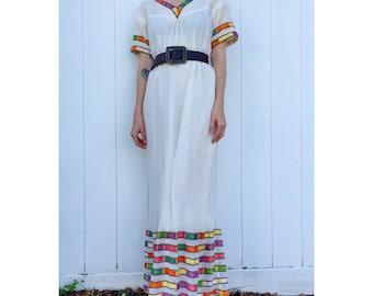 India Gauze Embroidered Ribbon Maxi Dress
