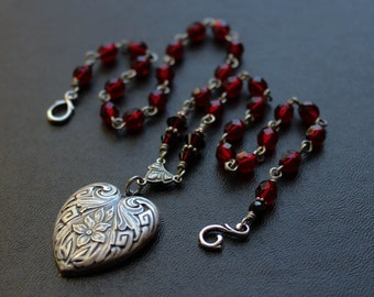Art Nouveau Heart Rosary Necklace in Silver and Blood Red. Mucha inspired. My Feral Heart.