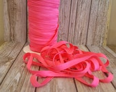 "Neon Pink FOE 3/8"" inch Fold Over Elastic Solid shiny FOE 5 or 10 yards DIY Headbands Hair Ties Satin Soft Elastic trim"