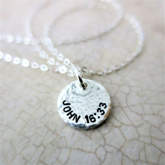 Custom Biblical Verse - Hand Stamped Jewelry - Personalized Bible Verse - Jeremiah 29:11 - Sterling Silver Pendant Jewelry - Religious