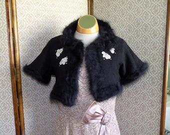 Vintage 1950's Black Knit Shrug and Purse Set
