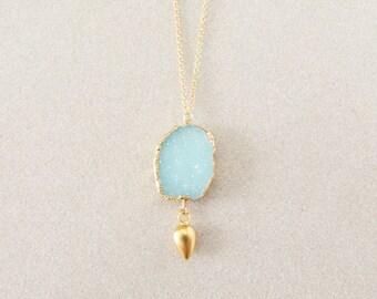 Aqua Druzy Necklace - Gold Necklace - Pendant Necklace - Druzy Jewelry