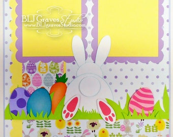 Easter Bunny Eggs Scrapbook Page Boy Girl Baby 12x12 Layout Paper Piecing Handmade 44