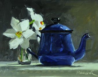 Blue Metal Teapot and White Daffodils, Spring Bouquet, White Jonquils and Enameled Pot