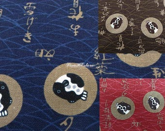 Pufferfish, on Japanese words background, 1/2 yard, pure cotton fabric