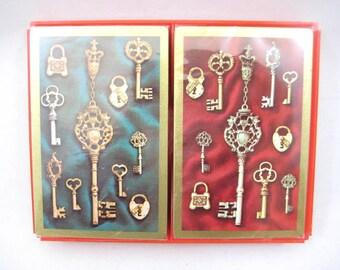 Vintage Playing Cards, Locks and Ornate Skeleton Keys, Two Complete Sealed Decks, Unopened - Plastic Coated, Hard Plastic Case