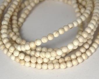 4mm White Magnesite Round Beads-15 inch strand