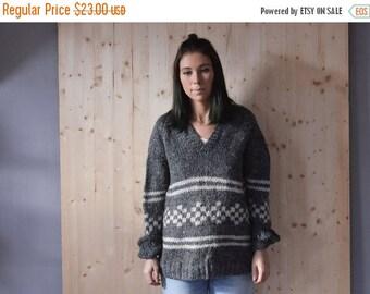 SALE WOOL Knit Sweater with Geometrical motifs VINTAGE 80s mens womens sweater