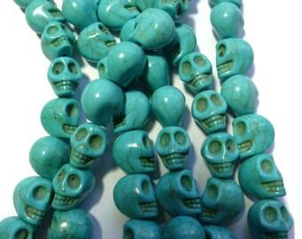 Blue Turquoise Howlite Skull - Skulls - 12mm x 10mm x 11mm - 32 beads - Full Strand - Sugar Skull - Synthetic Turquoise - aqua - sky blue