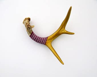 Painted Antler - EXTRA SMALL - Gold, Mulberry & Lavender Pattern - Home Decor