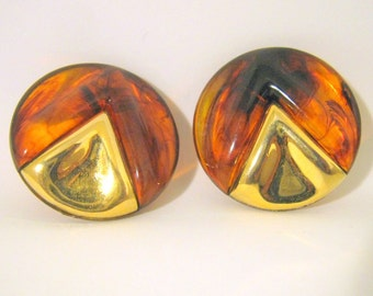 Vintage Lucite Clip On Earrings, Brown with Gold Earrings, Made in W Germany, Fashion Jewelry
