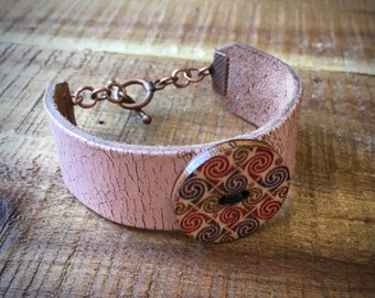 Leather Cuff Bracelet - Gypsy Bracelet - Pastel Pink Distressed Leather and Painted Wood button