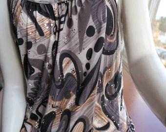 80s brown black grey print & sequin strappy sun dress / tunic uk size 8