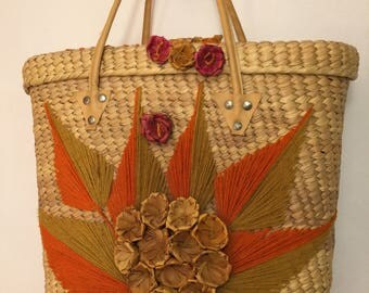 Straw Tote Bag from Mexico With Stitched Flowers and Leaves - Perfect for Summer