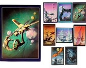 Rodney Matthews, Set of 8, Poster Cards, 1970s, fantasy art, Michael Moorcock, science fiction, Big O Posters, space ship, aliens, monsters