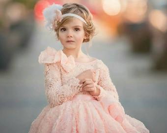 Couture elegant blush pink 3d flower girl dress