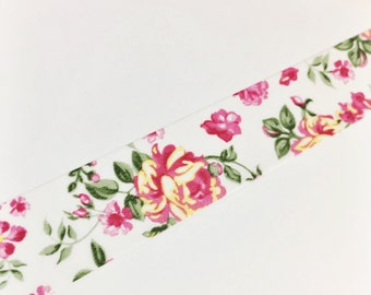 Dark Pink and Yellow Floral Pink Roses Yellow Roses Pretty Floral Washi Tape 11 yards 10 meters 15mm