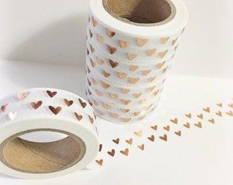 Bright Shiny Metallic Rose Gold Tiny Hearts Washi Tape 11yards 10meters 15mm