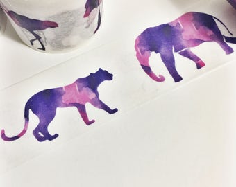 Gorgeous Watercolor Painted Purple and Pink Watercolor Animals Wild Animal Washi Tape 5.5 yards 5 meters 30mm