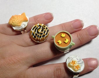 Decoden adjustable rings soup cinnamon roll banana taiyaki fish