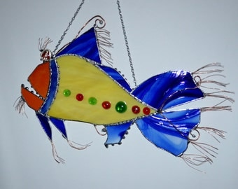 Fish - Whimsical - Crazy - Colorful - Fish Art - Stained Glass - Garden - Condo - Ocean - Art - Decoration - Pick Your Colors - Custom
