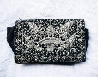 antique metallic embroidered clutch for repair