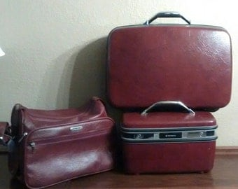 Vintage Silhouette III, Wineberry, Burgundy, Samsonite, carry-on suitcase, beauty case w/ mirror and tray,  and shoulder bag tote