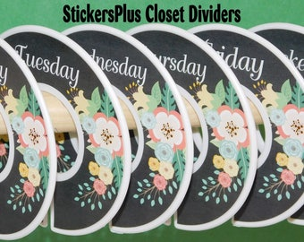 Days of Week Baby Kid Closet Dividers Organizers Assembled or DIY PreCut Chalkboard Chalk Floral Flower II Girl Baby Shower Gift Nurser Dec