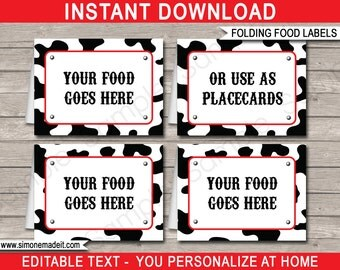 Cowboy Food Labels - Cowboy Theme Party - Food Buffet Tags - Placecards - Printable Party Decorations - INSTANT DOWNLOAD with EDITABLE text