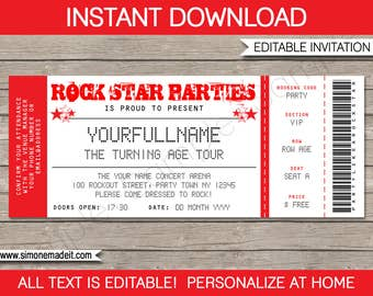 Rock Star Invitation - Concert Ticket Invitation - Rock Star Birthday Party Theme - Red - INSTANT DOWNLOAD with EDITABLE text